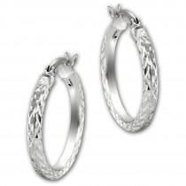 SilberDream Creole Diamant-Cut 2,5cm 925 Sterling Silber Damen Ohrring SDO67342