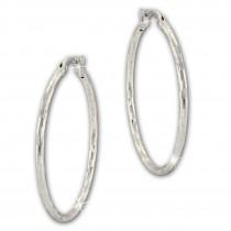SilberDream Creole Diamantschliff 4cm 925 Sterling Silber Damen Ohrring SDO67364