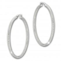 SilberDream Creole Diamant-Cut 4cm 925 Sterling Silber Damen Ohrring SDO67384