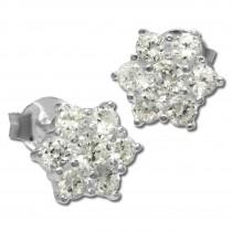 SilberDream Ohrstecker Stern mit Zirkonia weiß Silber Ohrringe SDO791W