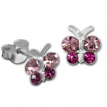 Kinder Ohrring Schmetterling rosa Ohrstecker 925 Kinderschmuck TW SDO8014A