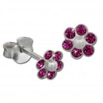 Kinder Ohrring Blume pink Ohrstecker 925 Kinderschmuck TW SDO8016P