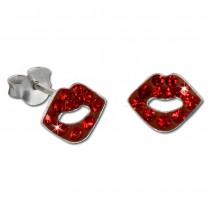 Kinder Ohrring Roter Mund 925er Silber Kinderschmuck TW SDO8017R