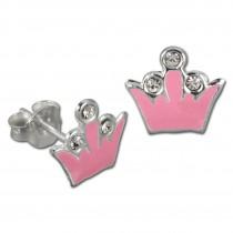 Kinder Ohrring Krone rosa Silber Ohrstecker Kinderschmuck TW SDO8105P
