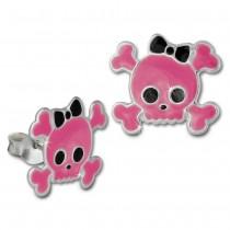 Kinder Ohrring Totenkopf pink Silber Ohrstecker Kinderschmuck TW SDO8108P