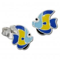 Kinder Ohrring Fisch blau/gelb Ohrstecker 925 Kinderschmuck TW SDO8126B