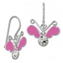 Kinder Ohrring 3D Schmetterling pink Ohrhänger 925 Kinderschmuck TW SDO8140P