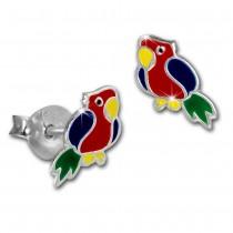 Kinder Ohrring Papagei Ohrstecker 925 Sterling Silber Kinderschmuck TW SDO8154R