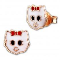 Kinder Ohrring Katze rosevergoldet 925 Sterling Silber Kinderschmuck TW SDO8169E