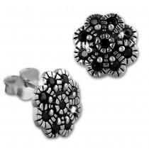 SilberDream Ohrstecker Blume Zirkonia schwarz 925er Silber Damen SDO8519S