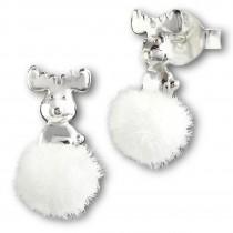 Kinder Ohrring Rentier weiße Puschel Ohrstecker 925 Silber TW SDO8550W