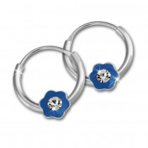Kinder Creole Blume blau Zirkonia Silber Ohrring Kinderschmuck TW SDO8703H