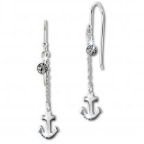 SilberDream Ohrhänger Anker Zirkonia weiß 925 Silber Damen Ohrring SDO8811W