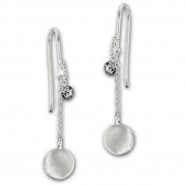 SilberDream Ohrhänger Plättchen Zirkonia weiß 925 Silber Damen Ohrring SDO8812W