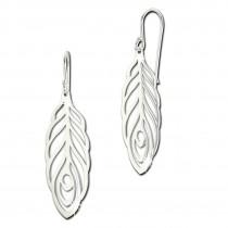 SilberDream Ohrringe Feder glänzend 925er Silber Damen Ohrhänger SDO8819J