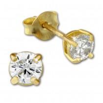 SilberDream Ohrstecker vergoldet Kreis weiß 925er Ohrring SDO9154YW