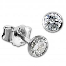 SilberDream Ohrringe Zirkonia weiß 3mm 925 Silber Ohrstecker SDO9203W