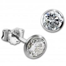 SilberDream Ohrringe Zirkonia weiß 5mm 925 Silber Ohrstecker SDO9205W