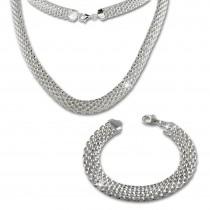 SilberDream Schmuckset Geflecht Kette & Armband 925er Sterling Silber SDS201J
