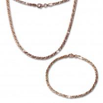 SilberDream Schmuckset gedreht Rose vergoldet Kette & Armband 925 Silber SDS203E