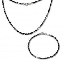 SilberDream Schmuckset gedreht schwarz Kette & Armband 925 Silber SDS203S
