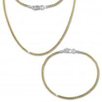 SilberDream Schmuckset Zopf vergoldet Kette & Armband 925 Silber SDS206Y