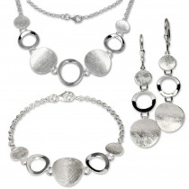 SilberDream Schmuck Set Collier, Armband, Ohrringe matt Silber SDS400