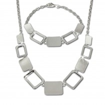 SilberDream Schmuck Set Square Collier & Armband 925 Silber SDS411