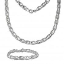 SilberDream Schmuck Set Zopf Collier & Armband Damen 925 Silber SDS438J