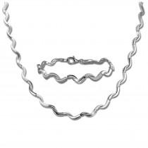 SilberDream Schmuck Set Welle Collier & Armband Damen 925 Silber SDS448J
