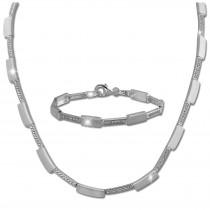 SilberDream Schmuck Set Square Zirkonia Collier & Armband Damen 925er SDS454W