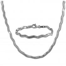 SilberDream Schmuck Set Welle Zirkonia Collier & Armband Damen 925er SDS461W