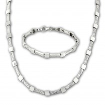 SilberDream Schmuck Set Square Collier & Armband Damen 925 Silber SDS475J