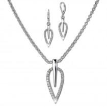 SilberDream Schmuck Set Kette und Ohrringe Blatt Zirkonia Silber SDS49023