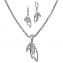 SilberDream Schmuck Set Kette und Ohrringe Blätter Zirkonia Silber SDS49043