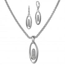 SilberDream Schmuck Set Kette und Ohrringe Oval Zirkonia Silber SDS49053