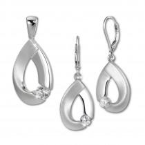 SilberDream Schmuck Set Anhänger und Ohrringe Big Zirkonia Silber SDS4907W