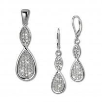 SilberDream Schmuck Set Anhänger und Ohrringe Unendlich Zirkonia Silber SDS4908W