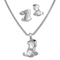 Teenie-Weenie Kinder Schmuck Set Hündchen Kette und Ohrringe 925er SDS49103