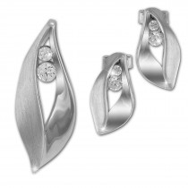 SilberDream Schmuck Set Anhänger und Ohrringe Blatt Zirkonia 925 Silber SDS4914W