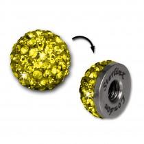 Glitzerkugel gelb für Sterlinx London Shamballa Armband SHB00Y