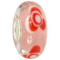 IMPPAC Glas Bead Rose pink 925 Sterling Silber European Beads SMB8115