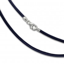 SilberDream Leder Armband 19cm blau 2mm für Charms SML7219