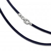 SilberDream Leder Kette 50cm blau 2mm für Charms SML7250