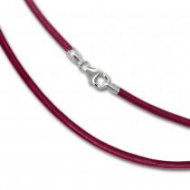 SilberDream Leder Kette 50cm pink 2mm für Charms SML7450
