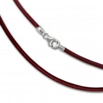 SilberDream Leder Armband 21cm rot 2mm für Charms SML7621