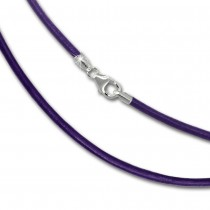 SilberDream Leder Armband 21cm lila 2mm für Charms SML7721