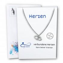 SilberPost Geschenkkarte Herzen mit Herzkette Zirkonia weiß 925 Silber SPK0019W