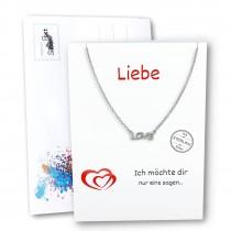 SilberPost Geschenkkarte Liebe mit Love Kette 925er Silber SPK0021W