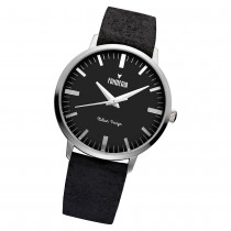 Fonderia Herren-Armbanduhr P-6A003UN3 Quarz Leder-Armband schwarz UAP6A003UN3